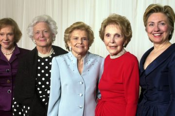 Former first ladies get together in 2003 for a fundraising event. From left are Rosalynn Carter
