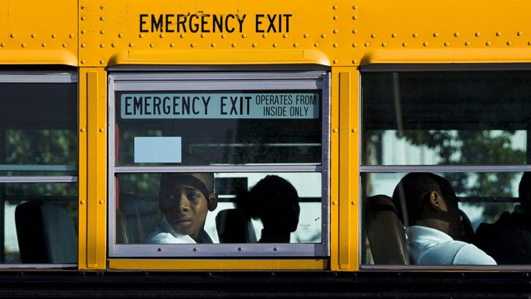 Students arrive on the first day of school in Philadelphia. The city opened three new public high schools in an effort to show the troubled district is still trying to innovate despite the specter of massive layoffs. (AP Photo/Matt Rourke)