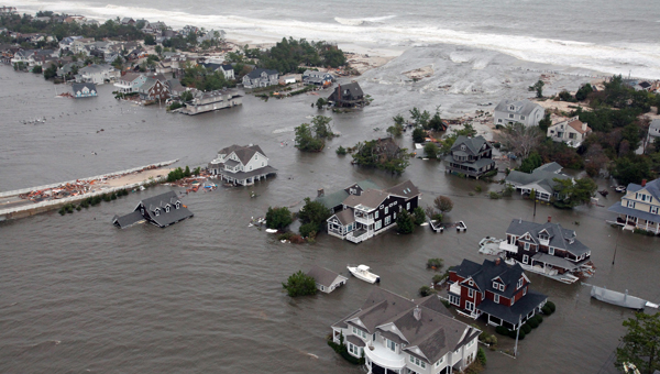 This Oct. 30, 2012 aerial photo provided by the U.S.Air Force shows flooding on the New Jersey shoreline during a search and rescue mission. (AP Photo/U.S. Air Force, Master Sgt. Mark C. Olsen)
