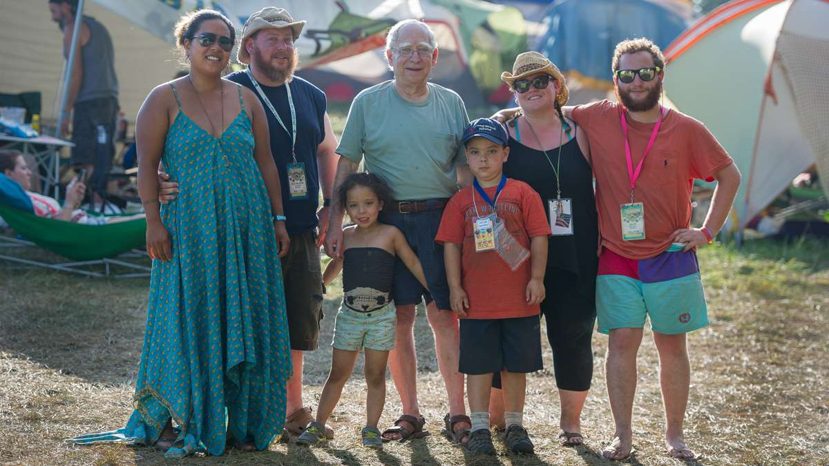For 17 years members of the Block family have been coming to the Folk Festival. Shown are three generations of the family. From left are Lula Jones, Alx Block, Emi Block, Bennett Block, Raiden Block, Katie Block, and Zack Block.