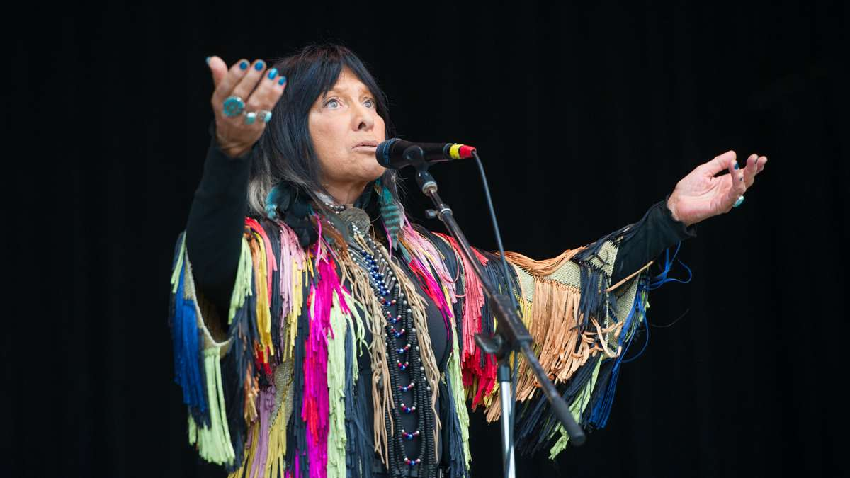 Folk music legend Buffy Sainte-Marie performs during the Saturday night concert.