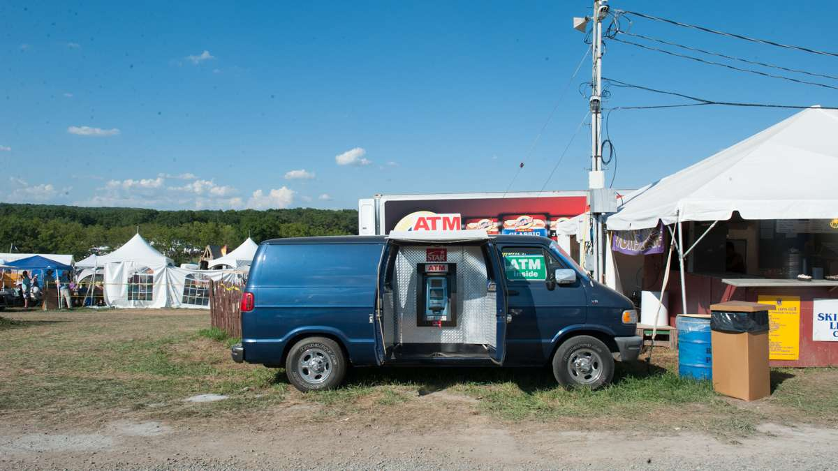 An ATM in a van provided cash withdrawals for campers in need.