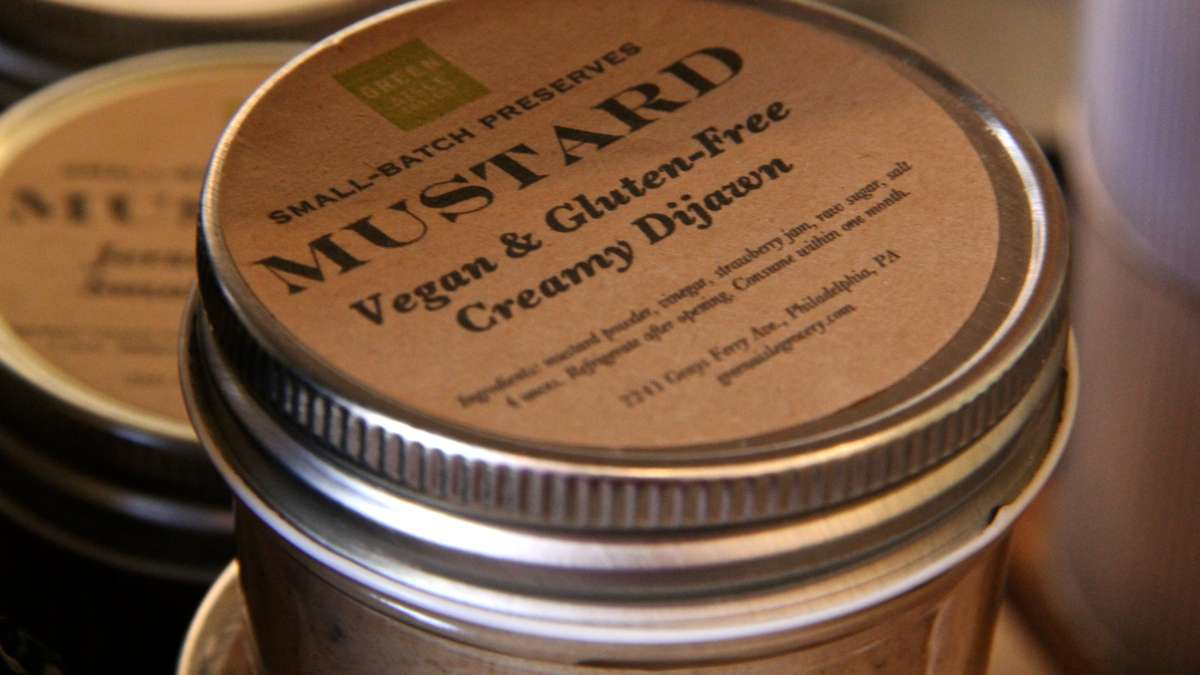 The Green Aisle Grocery labels its mustard 'Creamy Dijawn' in reference to its Philly origin. (Emma Lee/WHYY)