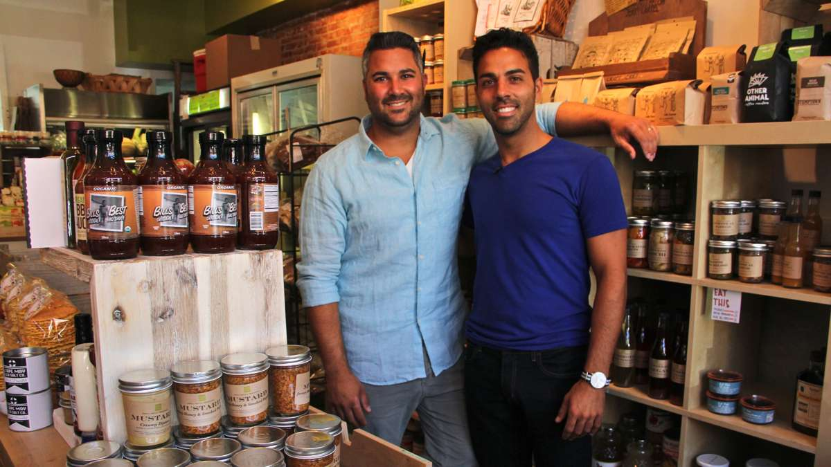 Brothers Adam (left) and Andrew Erace are the proprietors of Green Aisle Grocery in Philadelphia and the hosts of the Food Network show Great American Food Finds. (Emma Lee/WHYY)