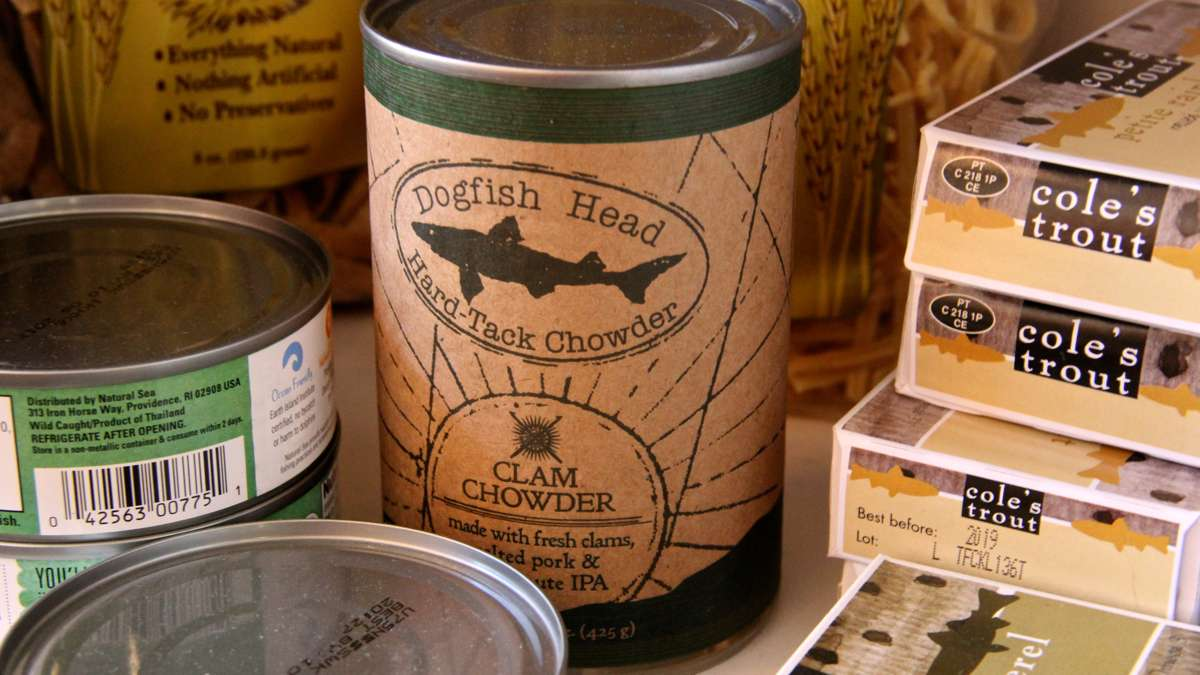 Dogfish Head makes chowder? Just add beer. Adam Erace says the brewery also makes a line of sausages. (Emma Lee/WHYY)