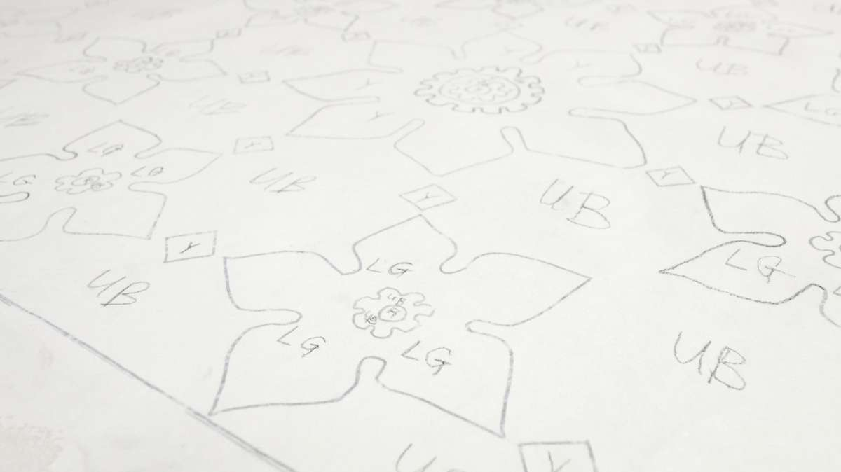 Outlines on fabric form the framework for the mural to be completed by community members. (Bastiaan Slabbers/for NewsWorks)