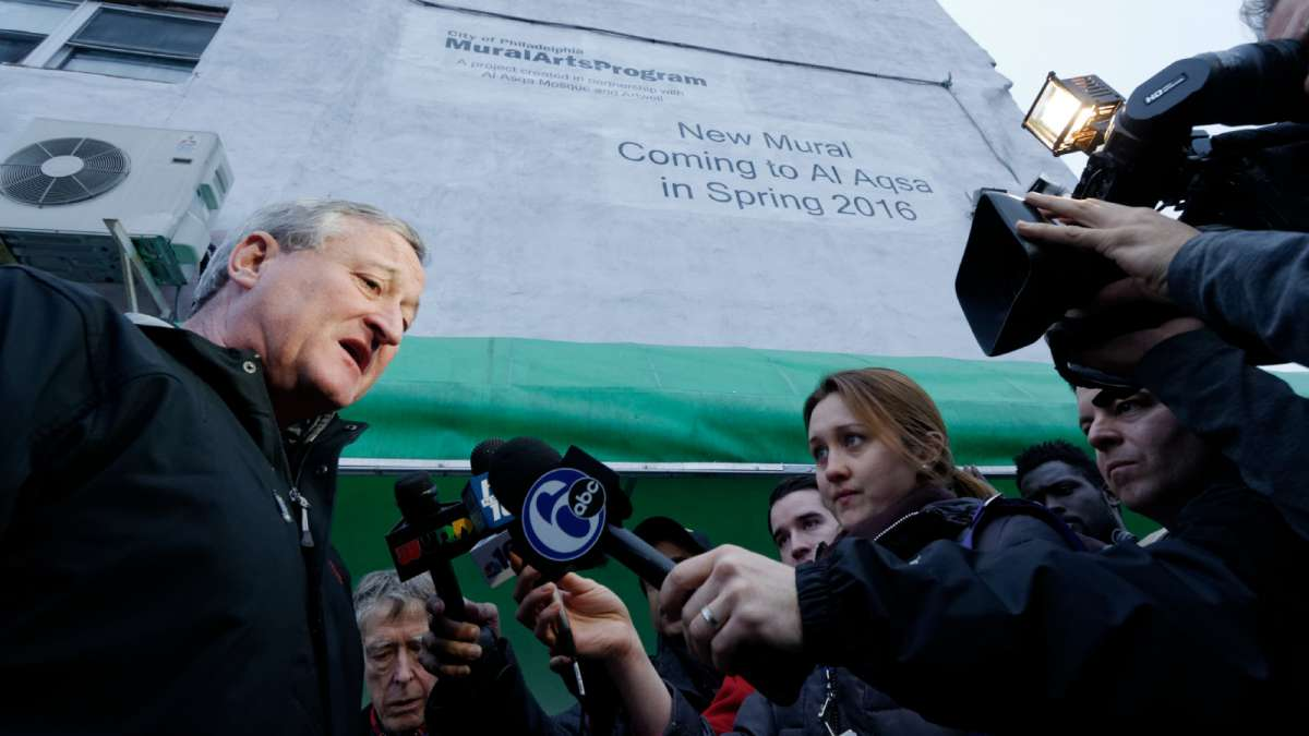Standing below the future site of the mural, Mayor Jim Kenney discounts the claims of Edward Archer, who said he acted in the name of Islam when he shot a Philadelphia police officer. (Bastiaan Slabbers/for NewsWorks)