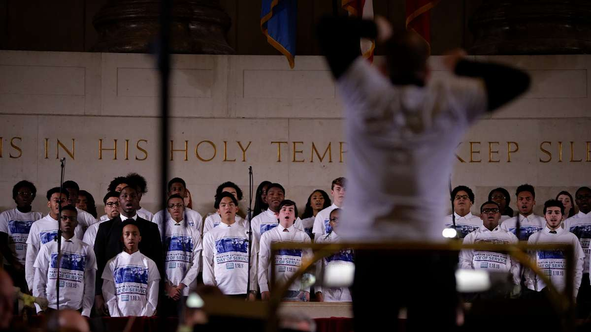 Members of the CAPA Choir perform with the Philadelphia Orchestra during the 26th Annual Martin Luther King Tribute Concert at the Girard College Chapel. (Bastiaan Slabbers/for NewsWorks)