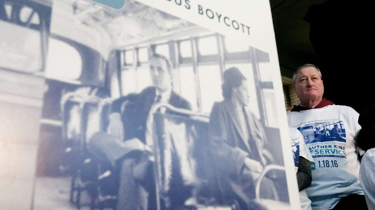 The 21st Annual Martin Luther King Day of Service is dedicated to the 60th anniversary of the Montgomery Bus Boycott, depicted on the event poster. (Bastiaan Slabbers/for NewsWorks)