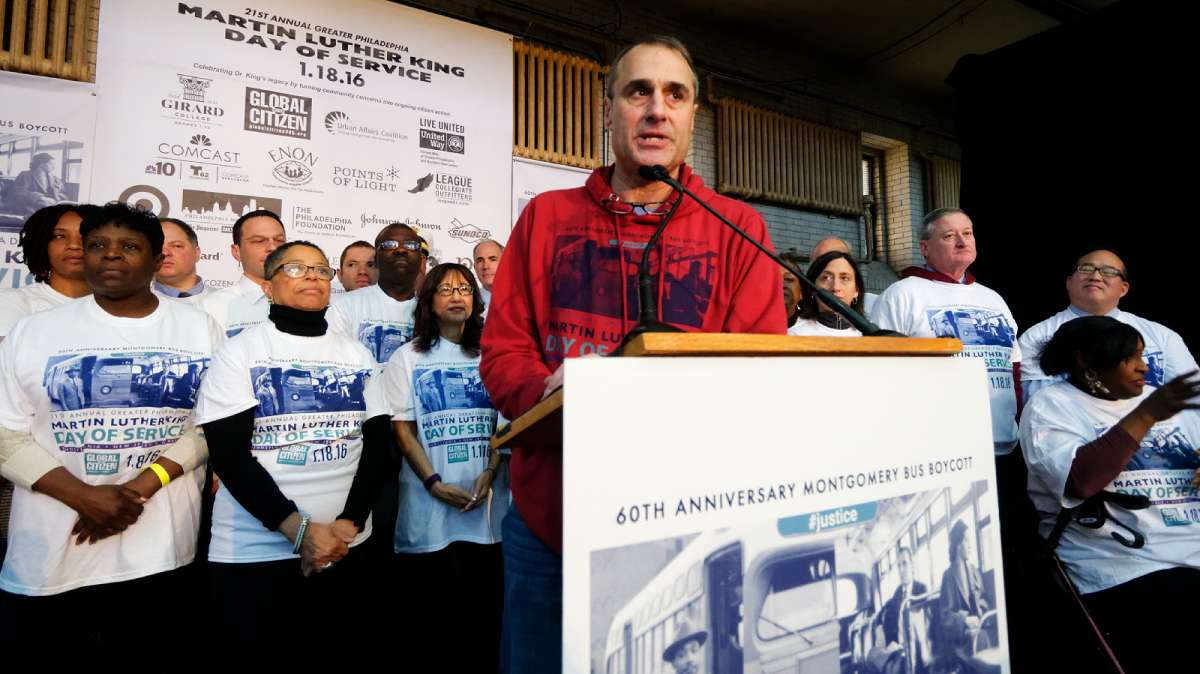 Todd Bernstein, founder and director of the annual Greater Philadelphia Martin Luther King Day of Service, speaks at the opening ceremony at Girard College. (Bastiaan Slabbers/for NewsWorks)