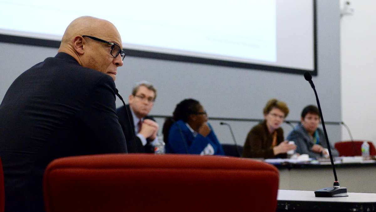 Philadelphia schools superintendent William Hite proposed converting three elementary schools into charters in October 2015. Each school had low test scores and declining enrollment, including Wister Elementary, around which the debate grew especially fiery. Hite is pictured at a School Reform Commission meeting shortly after making his proposal. (Bastiaan Slabbers for WHYY)