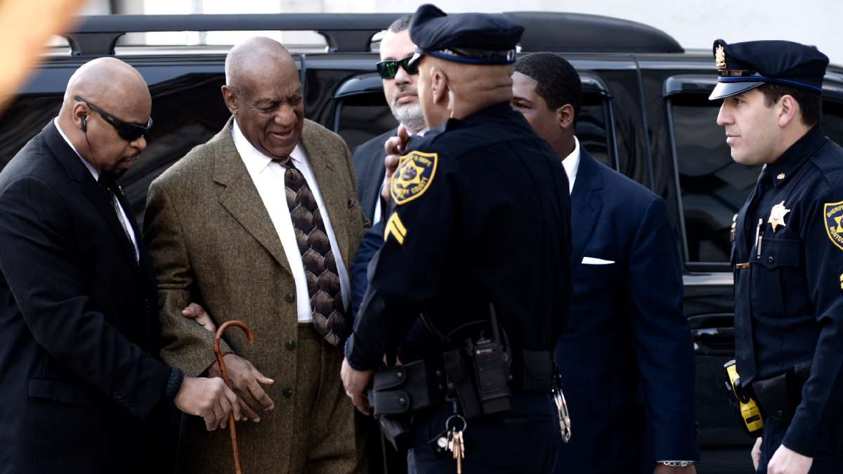 Bill Cosby arrives at Montgomery County Courthouse a little before 9 a.m. Tuesday to attend a pre-trial hearing.