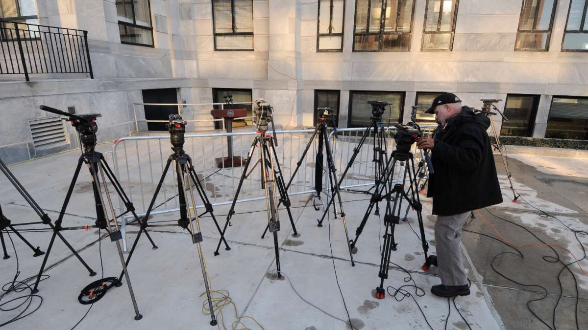 An area near the main entrance to the courthouse is dedicated for press conferences. On Tuesday, many more tripods would be added but no one would be available to address the media, leaving it unused.