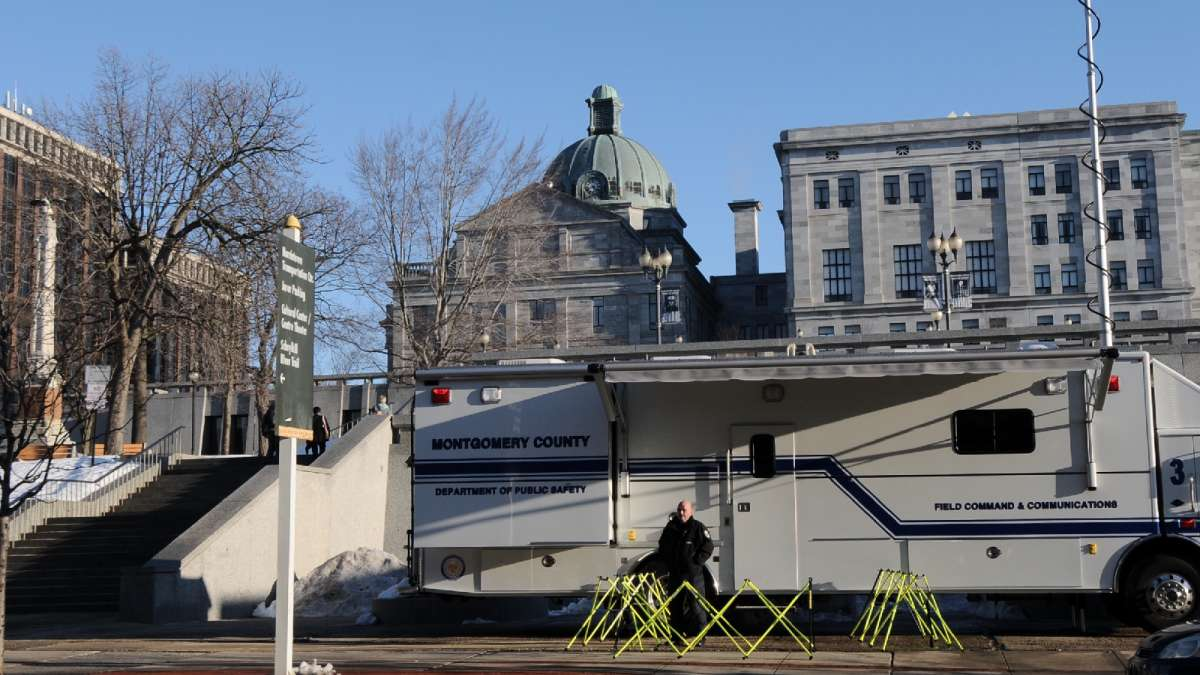 A mobile command post is set up outside Montgomery County Court House long before the actual start of a pre-trial hearing in the sexual assault trial of Bill Cosby.
