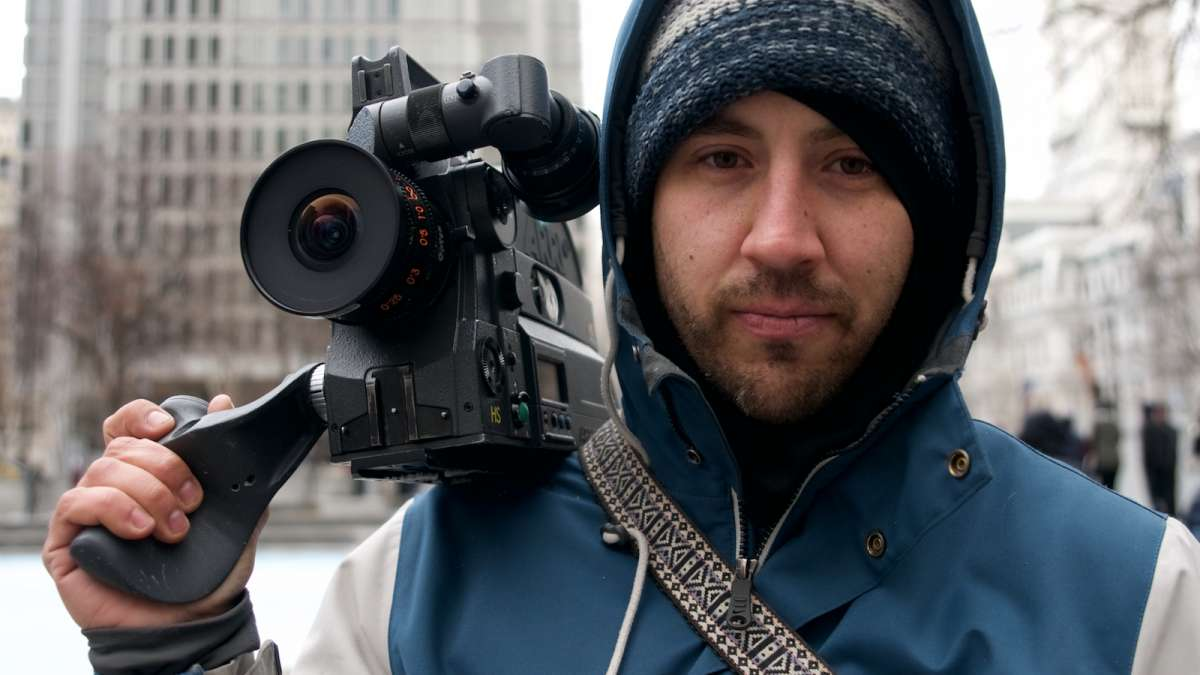 Cinematographer Phil Gushue documents the last days of the skaters at LOVE Park with a professional 16-mm film camera. The footage will be spliced with original content from the past, he explains.