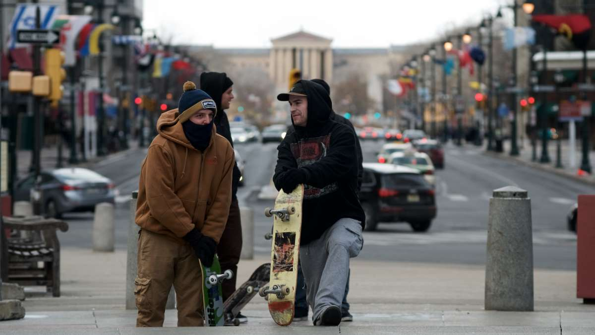 Skaters, bundled up against the cold are seen taking a break.