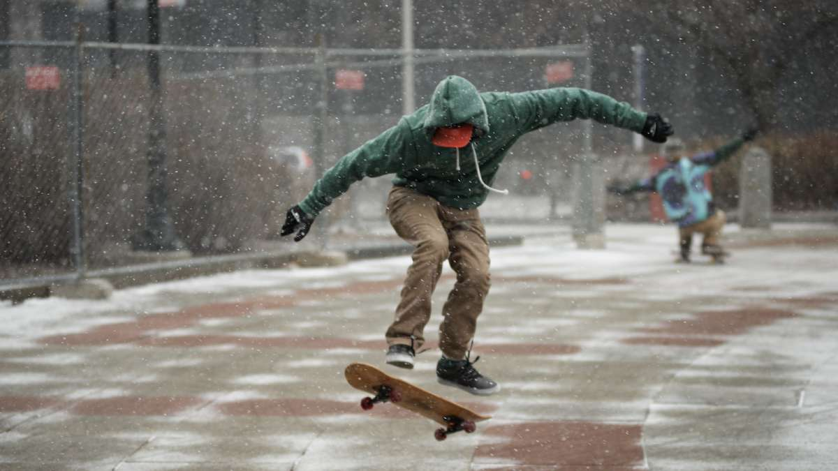 On Saturday light flurries coated the granite, making it harder for skaters to ride their boards.