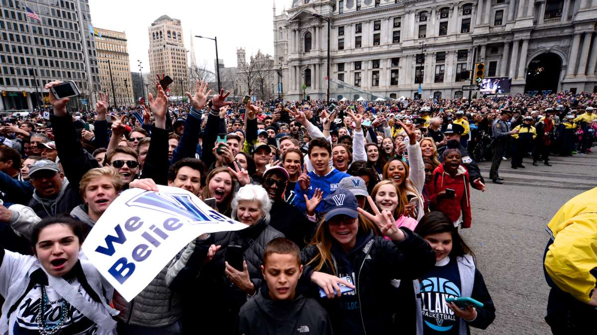 Thousands of fans gather near City Hall to greet the champs.