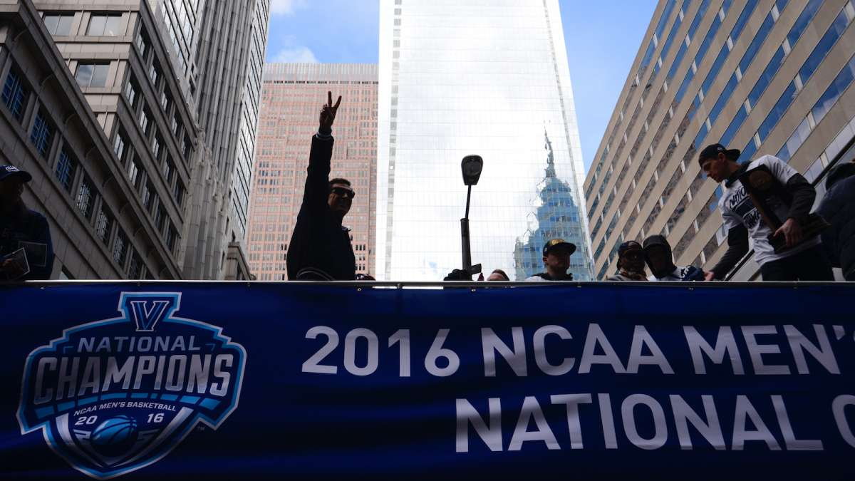 Villanova Wildcats NCAA Champions are celebrated during a Center City Philadelphia parade on Friday.