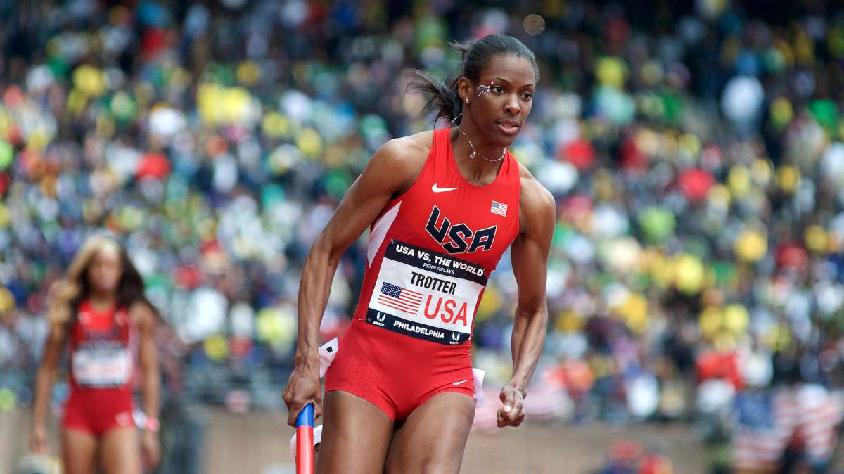 Dee Dee Trotter runs her portion of the 4x400m U.S.A. vs. the World.