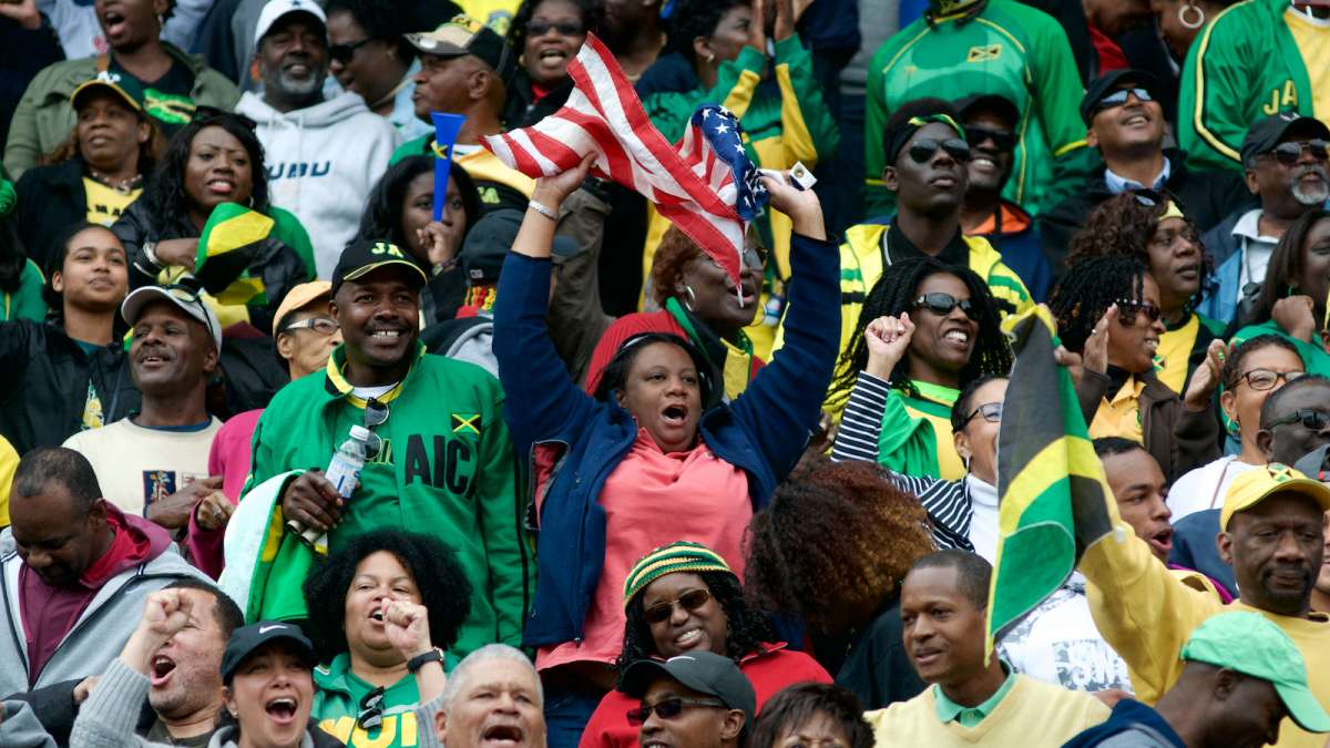One single U.S.A. fan amongst many rooting for Jamaica