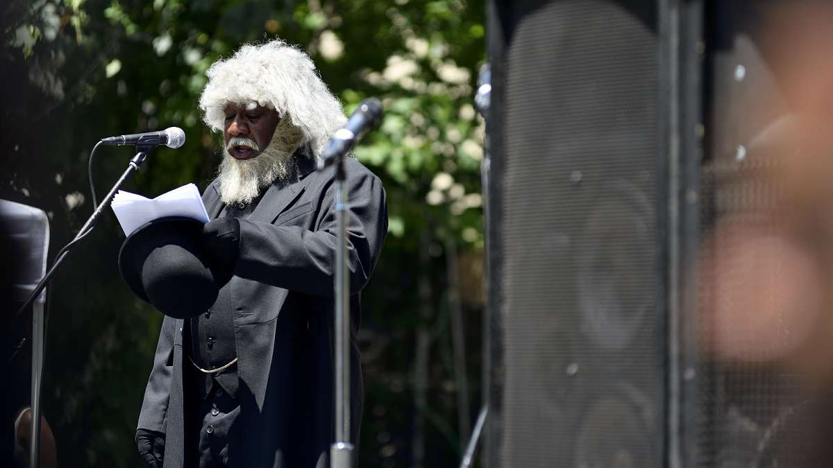 Reenactor Ron Carter, with Keepers of the Culture, reads the Emancipation Proclamation in his role as Frederick Douglass.