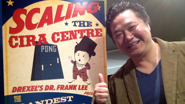 Frank Lee, co-founder of Drexel University's Game Design Program, is nominated for Geek  of the Year for putting a giant game of Pong on the face of Philadelphia's Cira Centre. (Zack Seward/WHYY)