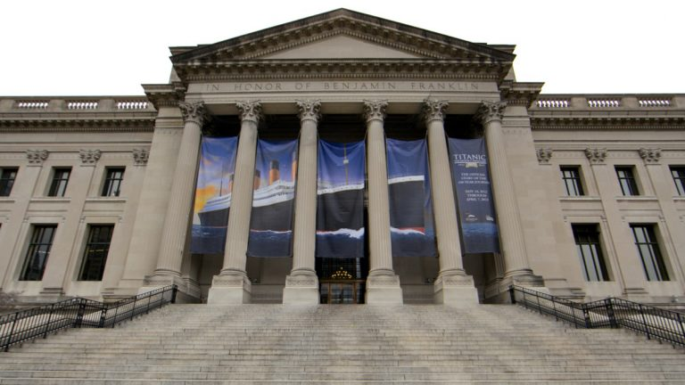 On the front steps of the Franklin Institute the Titanic was carved out of ice, promoting
