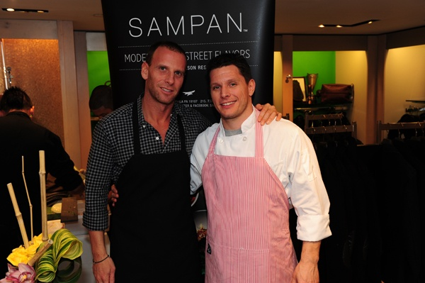 <p><p>Chef Michael Schulson of Sampan (left) and Chef Jeff Michaud of Vetri Family Restaurants, who prepared haute hors d'oeuvres for the party (Photo courtesy of Nick D'Aquanno)</p></p>
