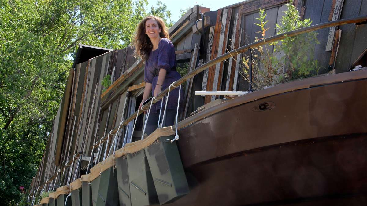 Mary Mattingly's WetLand, a floating exhibit featured in the 2014 Fringe Festival, has been drydocked at a South Jersey Marina. (Emma Lee/WHYY)