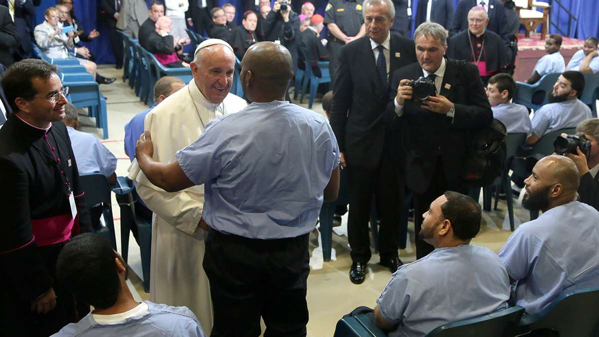 Pope Francis at Curran Fromhold Correctional Facility (Kevin Cook/for NewsWorks)