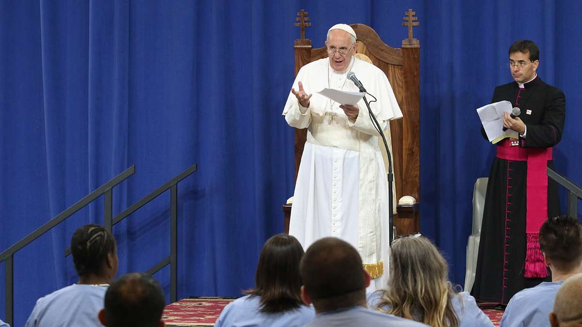 Pope Francis addressed about 100 inmates at Curran-Fromhold prison. (Kevin Cook/for NewsWorks)