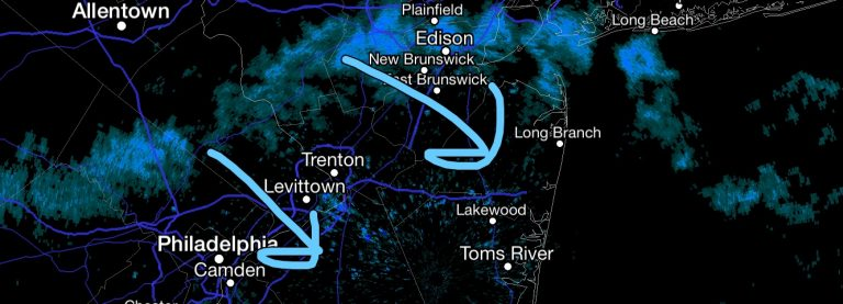 Radar at 3:00 p.m, depicting a snow squall heading southeast toward northern Monmouth County.