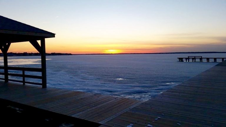 The frozen Barnegat Bay as seen from Lavallette during the Jan. 8, 2015 sunset by JSHN contributor Denise Wirth.