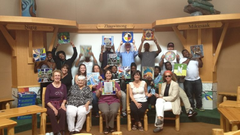 The Stained Glass Project at the Ojibwe People's School in Red Lake, Minnesota this past June. (Courtesy of the Stained Glass Project)