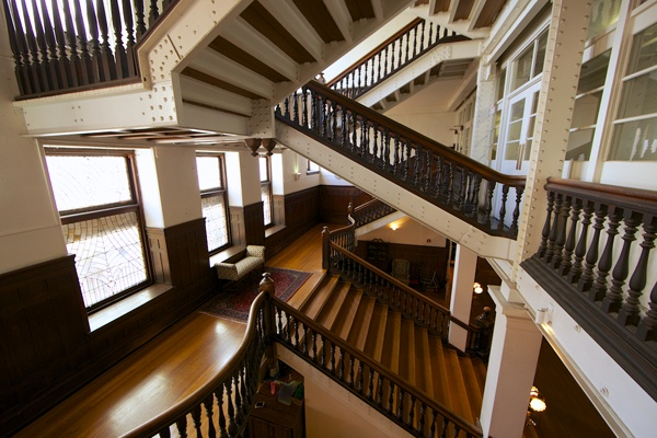 <p><p>Inside the Baldwin School, built in 1890, the main stairwell's exposed structural beams showcase Frank Furness' industrial style. (Nathaniel Hamilton/for NewsWorks)</p></p>