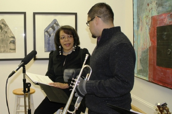 "<p><p>Terri ""Nightowl"" Lyons and Victor Puentes discuss musical selections. (Trenae V. McDuffie/for NewsWorks)</p></p>"