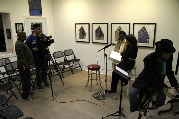 <p><p>The camera crew and performers set up in the main room at iMPeRFeCT Gallery before Wednesday night's rehearsal. (Trenae V. McDuffie/for NewsWorks)</p></p>