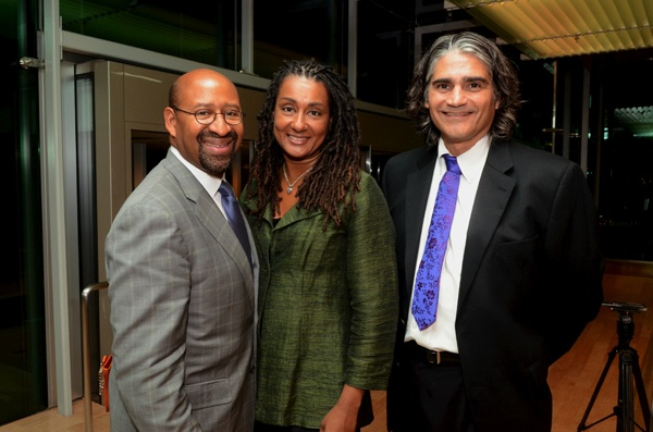 <p><p>Mayor Michael Nutter and his wife Lisa with Steven Larson, event honoree and executive director and co-founder of Puentes de Salud (Photo courtesy of HughE Dillon)</p></p>