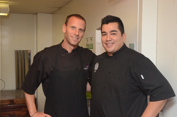 <p><p>Chef and restaurateur Michael Schulson of Sampan, the St. James (left), and Iron Chef Jose Garces of Amada, Tinto and co-founder of the Garces Family Foundation (Photo courtesy of HughE Dillon)</p></p>