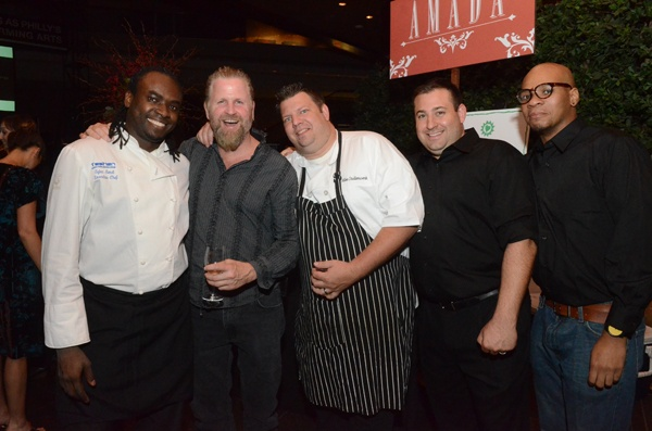<p><p>Chef Sylva Senat of Tashan, Mark Bee owner of Silk City & North 3rd, Mike Stollenwerk of fish and Rhino Bar both located at 1234 Locust St., fish/Rhino GM Joe Schiano and Rhino server Tim Williams (Photos courtesy of Hugh E Dillon)</p></p>