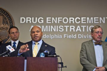 Gary Tuggle, head of the DEA Philadelphia Field Division, speaks about the analysis of overdose deaths in 2016 on Thursday afternoon. (Kimberly Paynter/WHYY)