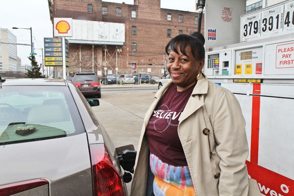 <p>Audri Thomas said that fifteen bucks she spent on gas could have been better spent on a manicure. (Kimberly Paynter/WHYY)</p>