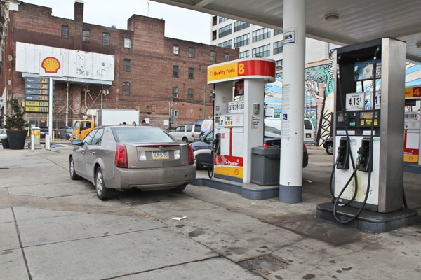 <p>Some gas purchasers at the Shell station at 12th and Vine Streets in Phila. said that they would be ok with a higher tax on gasoline depending on where the funds go.  (Kimberly Paynter/WHYY)</p>