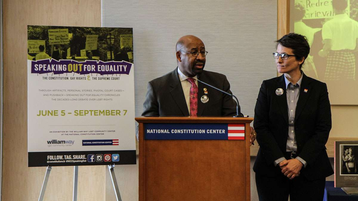 Philadelphia Mayor Michael Nutter and Helen 'Nellie' Fitzpatrick, Director of LGBT Affairs, speak at a press conference announcing an exhibiting examining gay rights at the National Constitution Center. (Kimberly Paynter/WHYY)