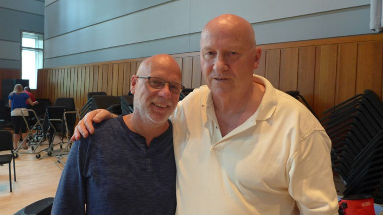 The Crossing director Donald Nally (left) with composer Gavin Bryars (right)Photo: © Anthony B. Creamer III / ECM Records