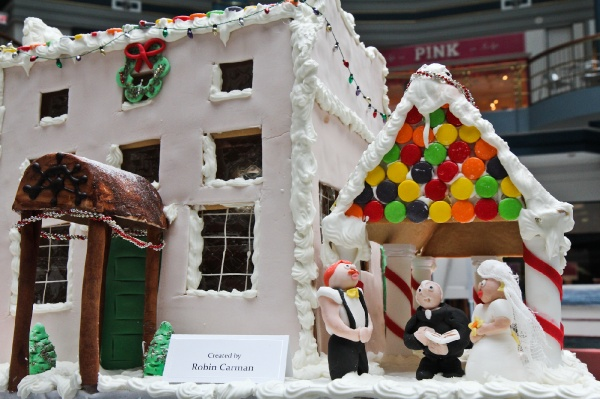 <p>The Gingerbread House Display at the Rotunda features replicas of historic sites of Fairmount Park available to tour during the holiday season. The Water Works gingerbread structure includes a wedding scene. (Kimberly Paynter/for NewsWorks)</p>