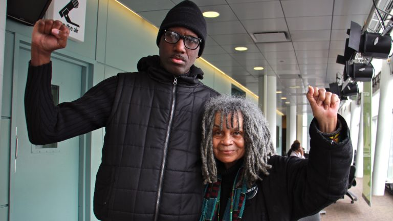 Black Lives Matter activist Asa Khalif and poet Sonia Sanchez. (Emma Lee/WHYY)