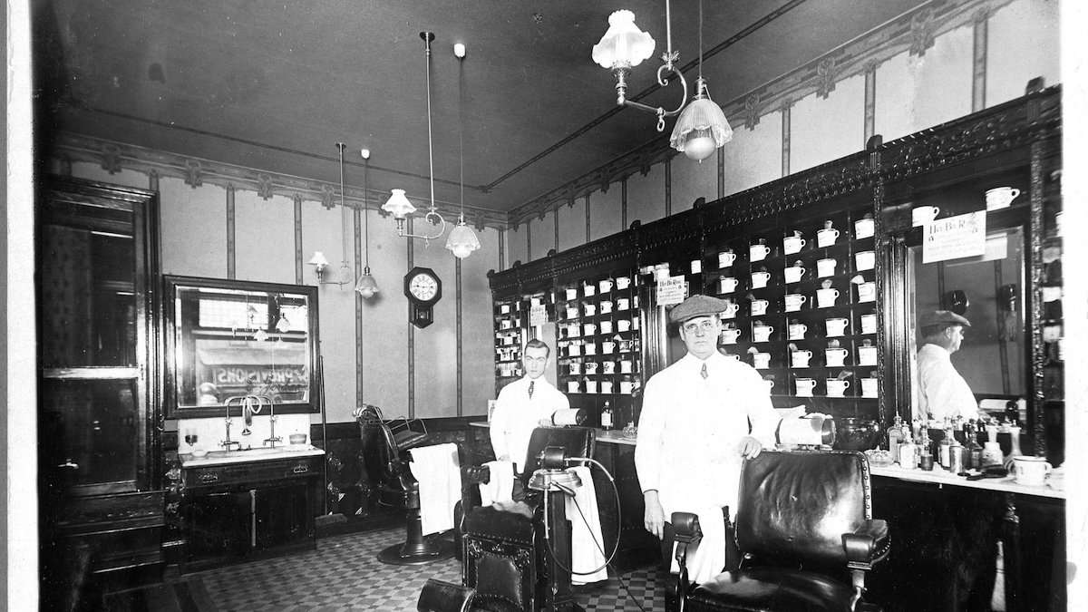 Inside the barber shop at 6223 Germantown Ave. (Courtesy of Germantown Historical Society, Philadelphia, PA)
