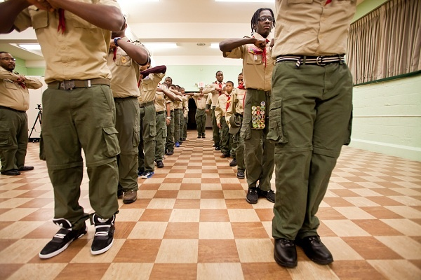 <p><p>The Scouts of Troop 358 stand in formation at Grace Baptist Church in Germantown in preparation for President Obama's Inauguration Parade on Monday. (Brad Larrison/for NewsWorks)</p></p>
